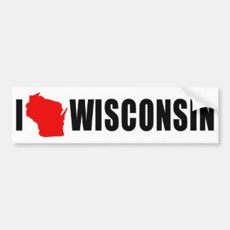 I Love Wisconsin Car Bumper Sticker