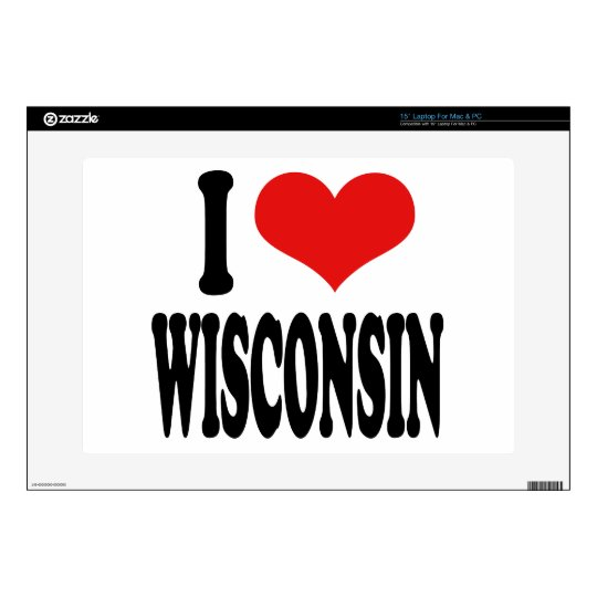 """I Love Wisconsin Decals For 15"""" Laptops"""