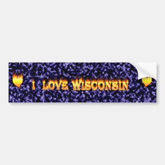 I love wisconsin fire and flames bumper sticker