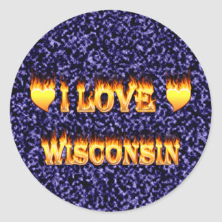 I love wisconsin fire and flames round sticker