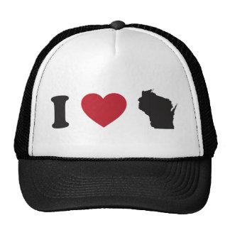 I Love Wisconsin Trucker Hats