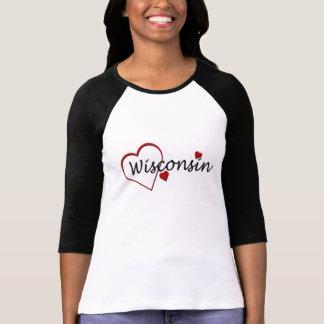 I Love Wisconsin Hearts Ladies Raglan T-shirt