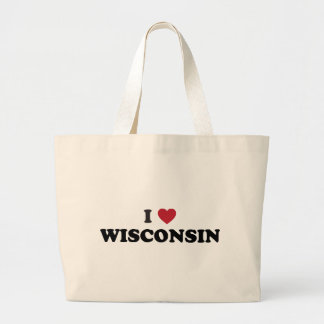I Love Wisconsin Large Tote Bag
