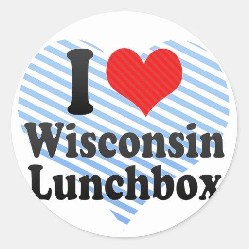 I Love Wisconsin+Lunchbox Classic Round Sticker