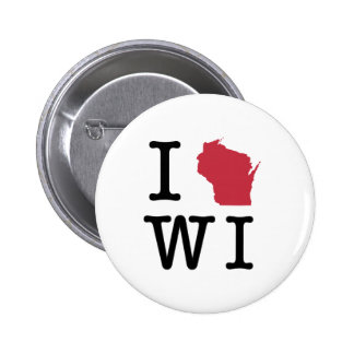 I Love Wisconsin Pinback Buttons
