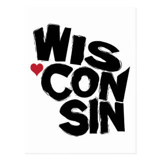 I Love Wisconsin State Map Art Postcards