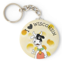 I Love Wisconsin Swiss Cheese and Cow Key Chain