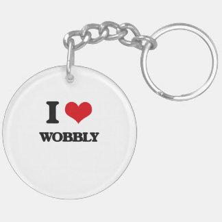 I love Wobbly Double-Sided Round Acrylic Keychain