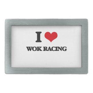 I Love Wok Racing Rectangular Belt Buckle