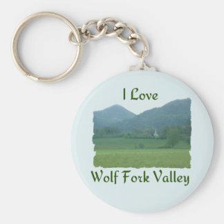 I Love Wolf Fork Valley Basic Round Button Keychain