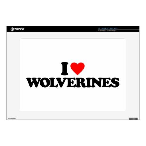 """I LOVE WOLVERINES 15"""" LAPTOP SKINS"""