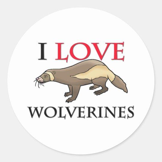 I Love Wolverines Classic Round Sticker