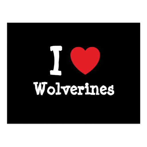 I love Wolverines heart custom personalized Post Card