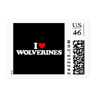 I LOVE WOLVERINES POSTAGE STAMPS