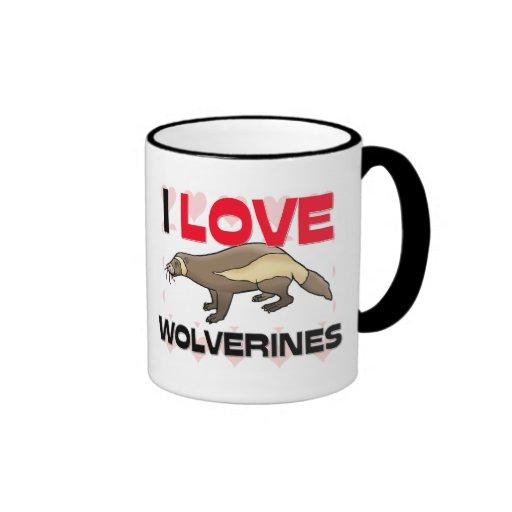 I Love Wolverines Ringer Coffee Mug