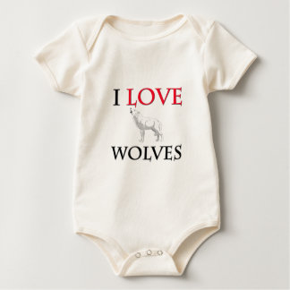 I Love Wolves Baby Bodysuit