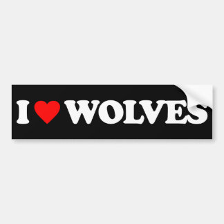 I LOVE WOLVES BUMPER STICKERS