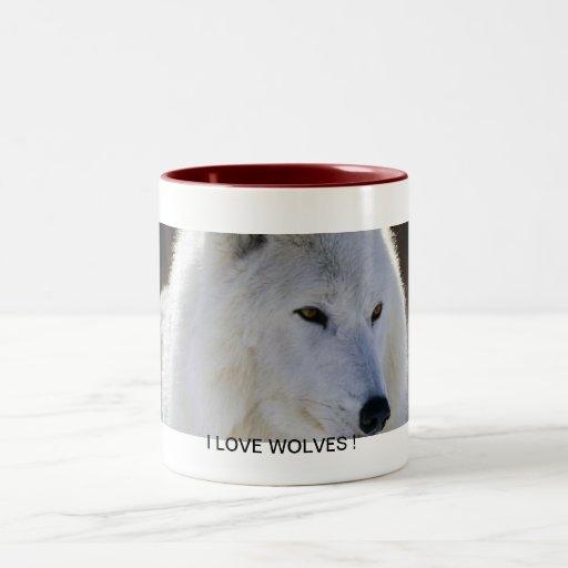 I Love Wolves Coffee Mugs