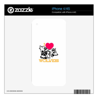 I Love Wolves iPhone 4S Decal