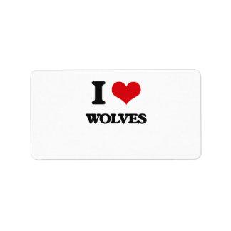 I love Wolves Address Label