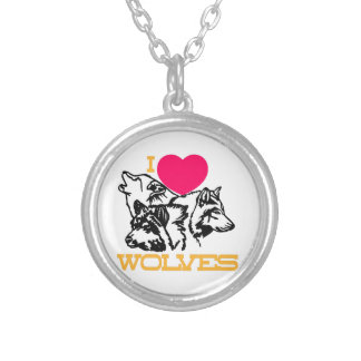 I Love Wolves Round Pendant Necklace