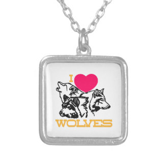 I Love Wolves Square Pendant Necklace