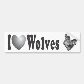 """I """"LOVE"""" Wolves with Image - Bumper Sticker"""