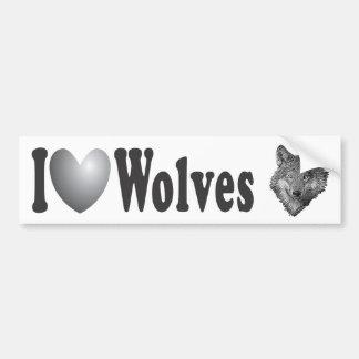 "I ""LOVE"" Wolves with Image - Bumper Sticker Car Bumper Sticker"