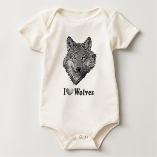 """I """"LOVE"""" Wolves WIth Wolf Image Baby Bodysuit"""
