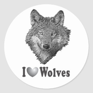 """I """"LOVE"""" Wolves WIth Wolf Image Classic Round Sticker"""
