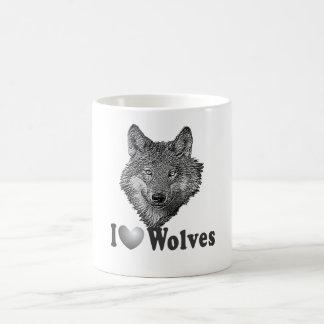 "I ""LOVE"" Wolves WIth Wolf Image Coffee Mug"