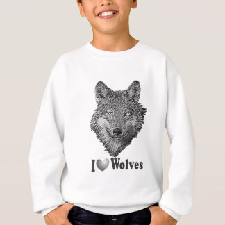 """I """"LOVE"""" Wolves WIth Wolf Image Sweatshirt"""