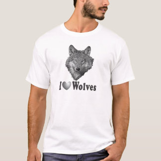 """I """"LOVE"""" Wolves WIth Wolf Image T-Shirt"""