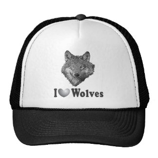 """I """"LOVE"""" Wolves WIth Wolf Image Trucker Hat"""