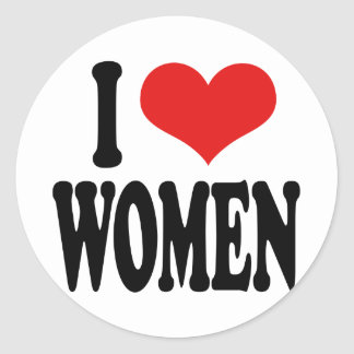 I Love Women Classic Round Sticker