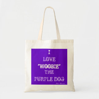 "I LOVE ""WOOBIE"" THE PURPLE DOG BUDGET TOTE BAG"