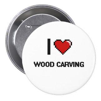 I Love Wood Carving Digital Retro Design 3 Inch Round Button