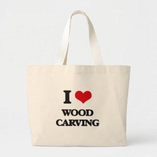 I Love Wood Carving Large Tote Bag