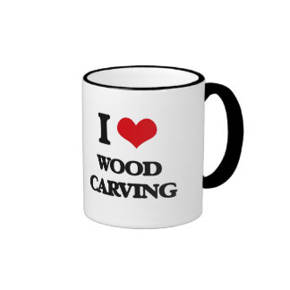 I Love Wood Carving Ringer Coffee Mug
