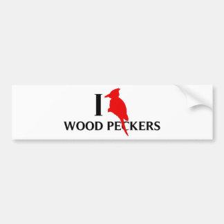 I Love Wood Peckers, Woodpeckers Bumper Sticker