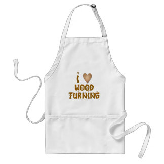 I Love Wood Turning Wooden Heart Adult Apron