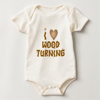I Love Wood Turning Wooden Heart Baby Bodysuit