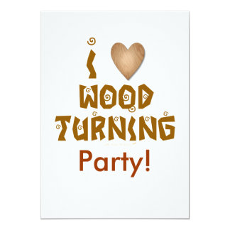 I Love Wood Turning Wooden Heart Card