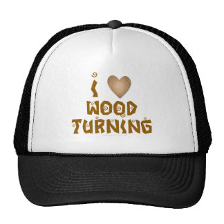 I Love Wood Turning Wooden Heart Hat
