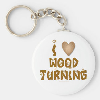 I Love Wood Turning Wooden Heart Key Chain