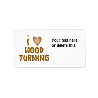 I Love Wood Turning Wooden Heart Label