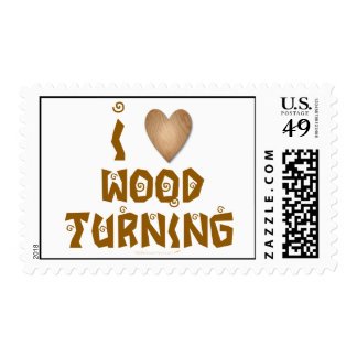 I Love Wood Turning Wooden Heart Postage