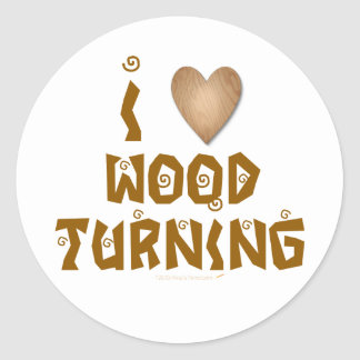 I Love Wood Turning Wooden Heart Sticker