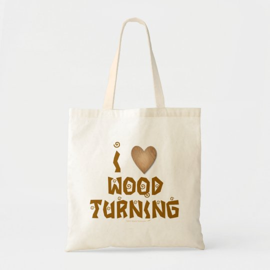 I Love Wood Turning Wooden Heart Tote Bag