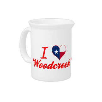 I Love Woodcreek, Texas Drink Pitcher